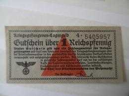Ww2 Gutchein über 1 Reichsmark Billet Monnaie Militaires Allemands Der Chef Des Oberkommandos Der Wehrmacht 5x10.4 Cms - [ 4] 1933-1945 : Terzo  Reich