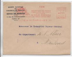 """1939 - PARIS - EMA """"COLIS AGRICOLE SNCF"""" Sur ENVELOPPE => MOULINS - EMA (Printer Machine)"""