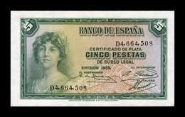 España Spain 5 Pesetas República 1935 Pick 85 Serie D SC UNC - [ 2] 1931-1936: Republik