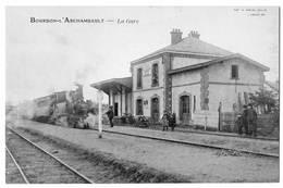 4 CPA Gares Avec Train Alençon Angoulême Meulan Bourbon Archambault 1910 1930 état Superbe TOP - Stations - Met Treinen