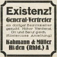 Original-Werbung/ Anzeige 1929 - EXISTENZ ! KAHMANN & MÜLLER - HILDEN - Ca. 60 X 65 Mm - Pubblicitari