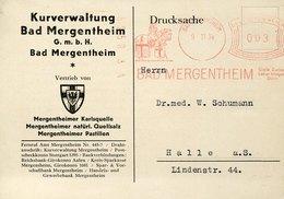 54730 Germany Reich,red Meter Freistempel Ema,1934 Bad Mergentheim,Kurverwaltung,mittelalterlicher Ritter,medieval Knigh - Deutschland