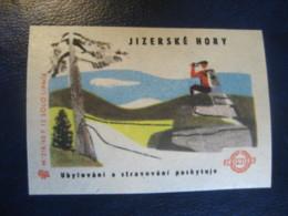 Jizerske Hory Mountains Climbing Poster Stamp Vignette CZECHOSLOVAKIA Label - Arrampicata
