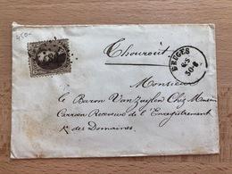 Enveloppe Sans Contenu De Bruges Pt 58 30 Juin 6S Vers Thourout 31 Juin 1864 7S Baron Vanzuijlen - 1863-1864 Médaillons (13/16)