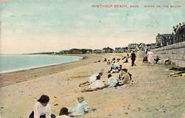 USA Mass. Winthrop Beach Scene On The Beach Cpa Cachet 1909 + Timbre - Sonstige