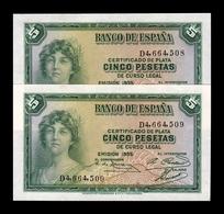 España Spain Pareja 5 Pesetas República 1935 Pick 85 Serie D SC UNC - [ 2] 1931-1936: Republik