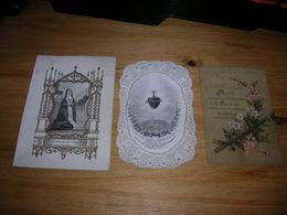 Lot De 3 Image Religieuse Pieuse Santino Holy Card Dentelle Canivet - Santini