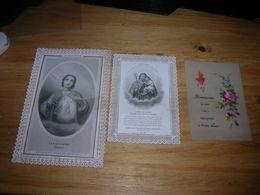 Lot De 3 Image Religieuse Pieuse Santino Holy Card Dentelle Canivet Celluloïd - Images Religieuses