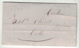 1846 - LETTRE LAC De CANNES Pour GRASSE (ALPES MARITIMES COMTÉ DE NICE) TRANSPORTÉE PAR PORTEUR - 1801-1848: Vorläufer XIX