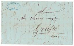 1846 - LETTRE LAC De LYON Pour GRASSE (ALPES MARITIMES COMTÉ DE NICE) TRANSPORTÉE PAR PORTEUR - 1801-1848: Vorläufer XIX