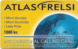 Iceland - Atlas Simi - Atlas Frelsi, Globe, Remote Mem. 1000Kr, Used - Islande
