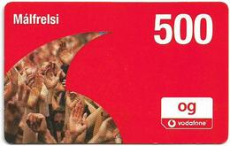 Iceland - Vodafone - Hands In Logo, GSM Refill 500Kr, Mint - Islandia