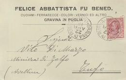 Gravina Di Puglia. 1918. Annullo Grande Cerchio Su Cartolina Postale PUBBLICITARIA ... CUOIAMI FERRARECCE COLORI   ... - 1900-44 Victor Emmanuel III