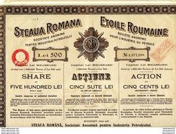 (Réf : D794)  VIEUX PAPIERS ACTIONS & TITRES - STEAUA ROMANA SOCIÉTÉ ANONYME POUR L'INDUSTRIE DU PÉTROLE - Pétrole