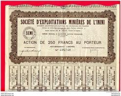 ACTIONS ET TITRES (Réf : B 946) « VIEUX PAPIERS  SOCIÉTÉ D'EXPLOITATIONS MINIÈRES DE L'ININI - Mines