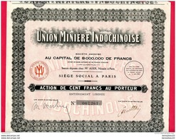 """ACTIONS ET TITRES (Réf : B 948) """"VIEUX PAPIERS """"  UNION MINIÈRE INDOCHINOISE - Mines"""