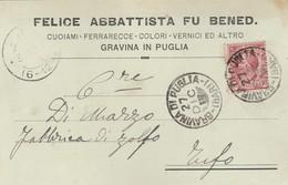 Gravina Di Puglia. 1917. Annullo Grande Cerchio Su Cartolina Postale PUBBLICITARIA ...  CUOIANI - FERRARECCE  ... - 1900-44 Victor Emmanuel III