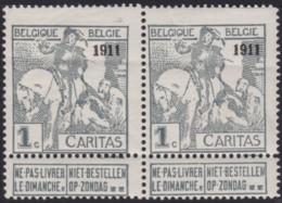 Belgie .   OBP .    92 Paar   (2 Scans)       .   **   .   Postfris   .   /   .  Neuf SANS  Charniere - 1910-1911 Caritas