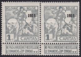 Belgie .   OBP .    92 Paar   (2 Scans)  1 Zegel * !      .   **   .   Postfris   .   /   .  Neuf SANS  Charniere - 1910-1911 Caritas