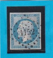 N° 14 A  -  PC 1152  DUNKERQUE ( 57 )  NORD    - REF 1447 + Variété - 1853-1860 Napoleon III
