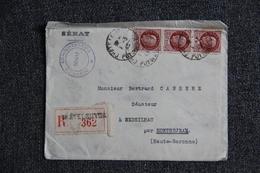 Lettre Recommandée De CHATELGUYON Vers MONTREJEAN ( 31) Enveloppe Du SENAT. - France