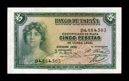 España Spain 5 Pesetas República 1935 Pick 85 Serie D SC- AUNC - [ 2] 1931-1936: Republik
