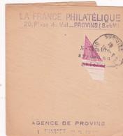 """1/2 Timbre Mercure N°408  Apposé Au Bureau De Poste  Sur Bande """" La France Philatélique """" Provins - Frankreich"""
