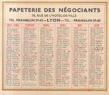 Petit Calendrier De 1953  , Papèterie Des Négociants à Lyon   ///    Mai . 20 /  Ref.  11305 - Calendriers