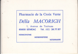 9Petit Calendrier De La Pharmacie De La Croix Verte à SEMEAC (65) De 1985 - Tamaño Pequeño : 1981-90
