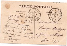 Angers à Nantes 29.08.1914 - Ambulant Sur Carte Du Donjon D'Oudon - Marcophilie (Lettres)
