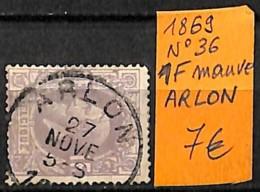D - [835361]TB//O/Used-Belgique 1869 - N° 36, 1f Mauve, ARLON, Familles Royales - 1869-1883 Léopold II