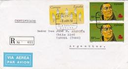 ESPAGNE ENVELOPPE CIRCULEE DE ISLA CRISTINA, HUELVA A TANDIL, ARGENTINE ANNEE 1994 PAR AVION RECOMMANDE -LILHU - 1991-00 Cartas