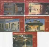 Turkey, TR-TT-N-249 - 253, Set Of 5 Cards, Turkish Cultural Heritages - Fountains, 2 Scans. - Turkey