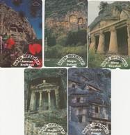 Turkey, TR-TT-N-261 - 265, Set Of 5 Cards, Rock Tombs, 2 Scans. - Turkey