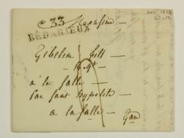 33 Bedarieux Sur LAC 1827 Pour La Salle Par St Hyppolite Du Gard En Port Du, Taxe 4 Decimes - Postmark Collection (Covers)