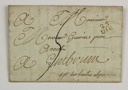 25 DIE  Sur LAC 1805  Pour Embrun En Port Du, Taxe 5 Decimes - 1801-1848: Précurseurs XIX