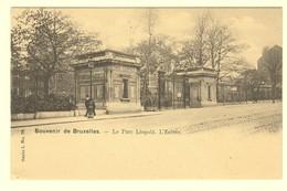 A0186[Postkaart] Souvenir De Bruxelles. - Le Parc Léopold. L'Entrée (Vanderauwera) [Brussel Leopoldpark Ingang] - Forêts, Parcs, Jardins