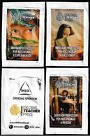 NOVEAU -|- Delta Cafés, Portugal 2020 - Global Teacher Prize / Série Complète 3 Sachets Vides - Azúcar
