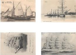PK17/    4 ZEILSCHEPEN In  ANVERS/DUINKERKE/BLANKENBERGE + SCHOOLSCHIP - Cartes Postales