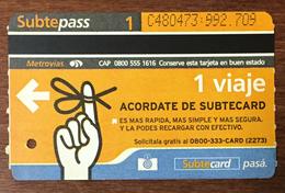 ARGENTINE BUENOS AIRES METROVIAS 1 VOYAGE DOIGT TITRE DE TRANSPORT MAGNÉTIQUE QUE POUR LA COLLECTION - Bus