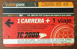 ARGENTINE BUENOS AIRES METROVIAS 1 VOYAGE CARRERA TITRE DE TRANSPORT MAGNÉTIQUE QUE POUR LA COLLECTION - Bus