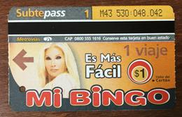 ARGENTINE BUENOS AIRES METROVIAS 1 VOYAGE FEMME MI BINGO TITRE DE TRANSPORT MAGNÉTIQUE QUE POUR LA COLLECTION - Bus