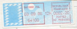 Vignette Affranchissement G2 - PC64102 - Bayonne Pal 03 09 86 - 2000 «Avions En Papier»