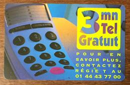 REGIE T 3MN  TICKET TÉLÉPHONE COD CARTE PRÉPAYÉE PREPAID FRANCE TÉLÉCOM PRÉPAYÉE PREPAID - Frankreich