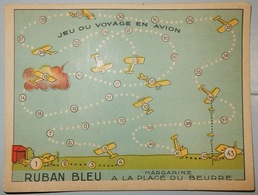 ANCIEN JEU MARGARINE RUBAN BLEU JEU EN VOYAGE EN AVION - Publicidad