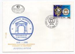 YUGOSLAVIA, FDC, 13.10.1988. COMMEMORATIVE ISSUE: SLOVENIA, SCIENCE AND ART ACADEMY, 50th ANNIVERSARY - FDC