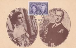 CANADA Carte Maximum Yt 250 Queen Elisabeth ,duke Edinburgh 1951  Maximum Card - Maximumkaarten