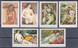Yugoslavia 1969 Art Paintings Nude Martinoski Sumanovic Tartaglia Bijelic Kraljevic Sternen, Set MNH - 1945-1992 Sozialistische Föderative Republik Jugoslawien