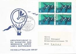 """Motiv Brief  """"Ballonflug Uschtenerfäscht 73""""  Watt                1976 - Storia Postale"""