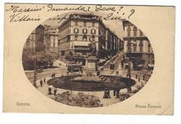 6573 - GENOVA PIAZZA CORVETTO ANIMATA TRAM 1920 CIRCA - Genova (Genoa)